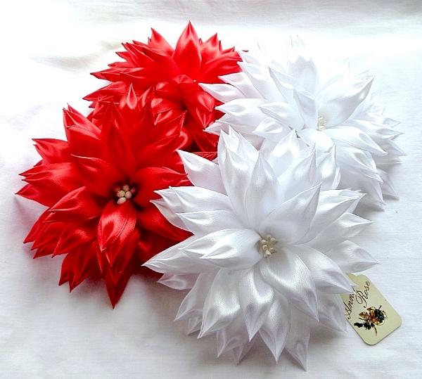 резинка для волос с цветком в технике канзаши - белые и красные - в интернет-магазине annarose.com.ua